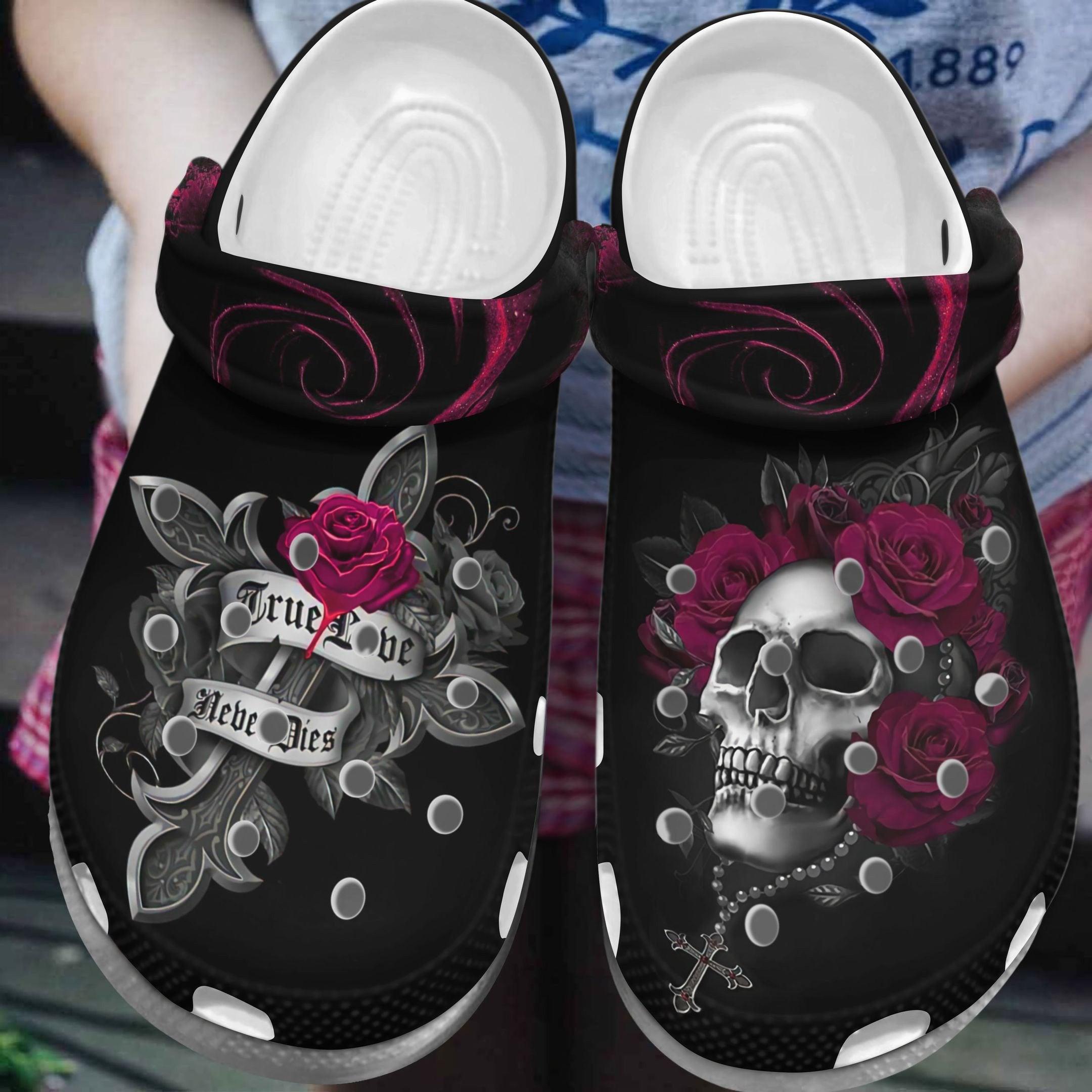 Skull True Lover Never Dies Crocs Clog Shoes