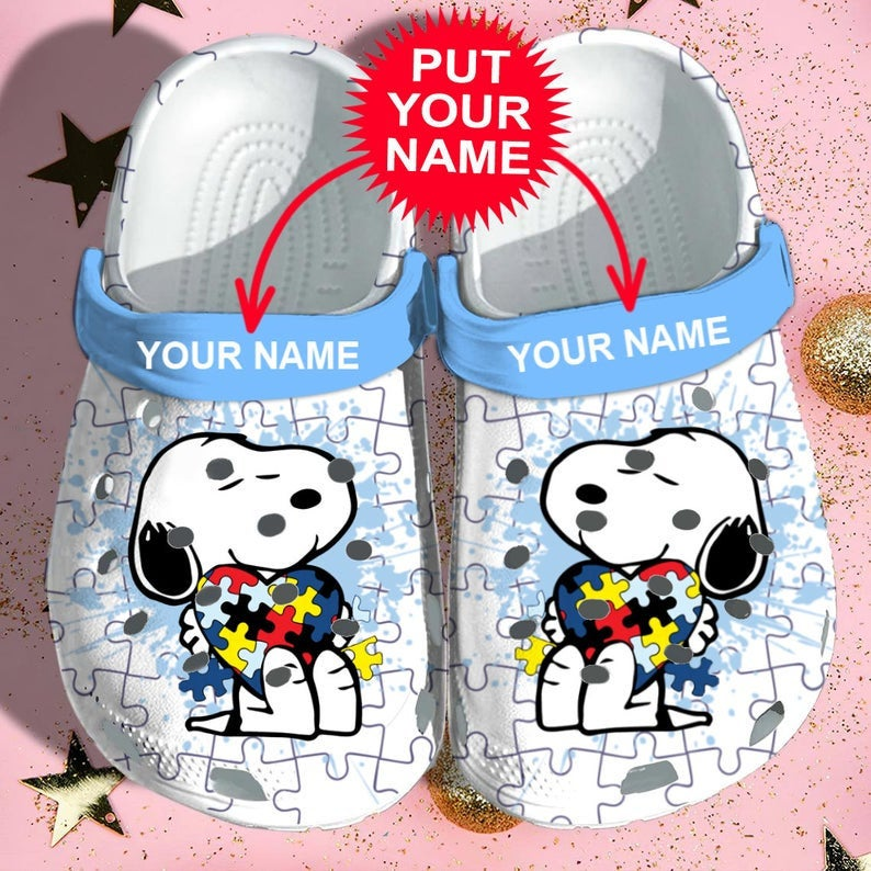 Snoopy Autism Autism Comfortable For Mens And Womens Classic Water Crocs Clog Shoes