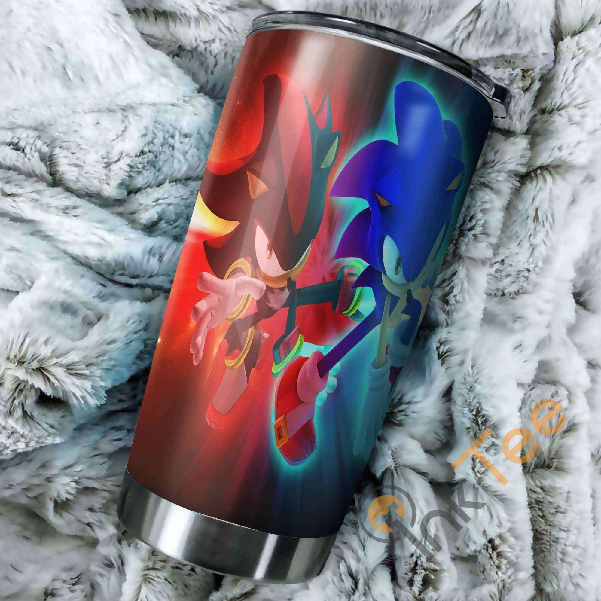 Sonic The Hedgehog Red And Blue Perfect Gift Stainless Steel Tumbler