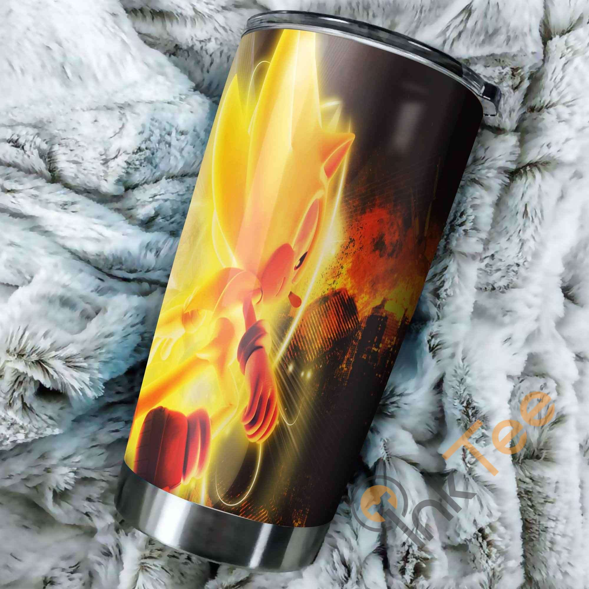 Sonic The Hedgehog Yellow Fire Perfect Gift Stainless Steel Tumbler