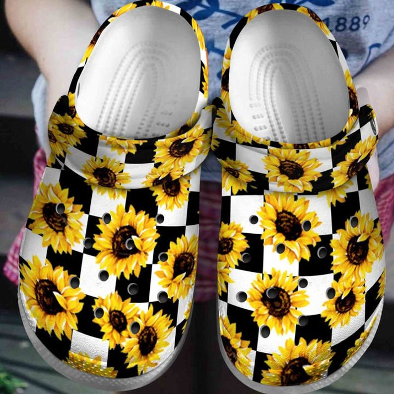 Sunflower White And Black Crocs Clog Shoes