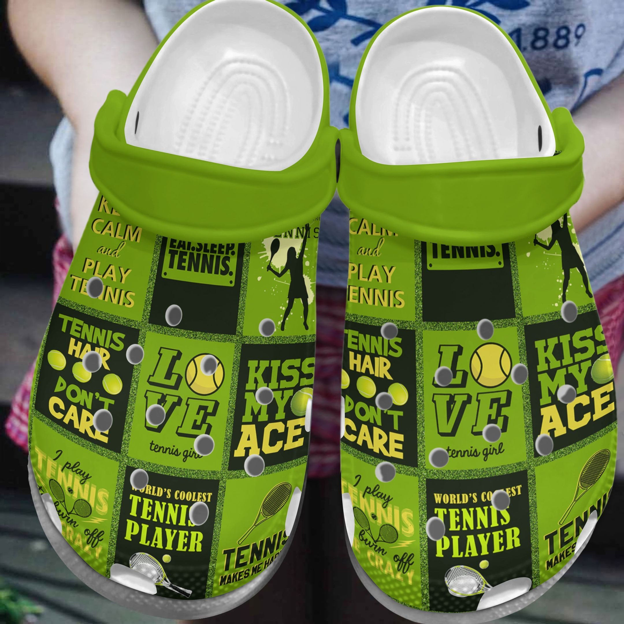 Tennis Kiss My Ace Crocs Clog Shoes