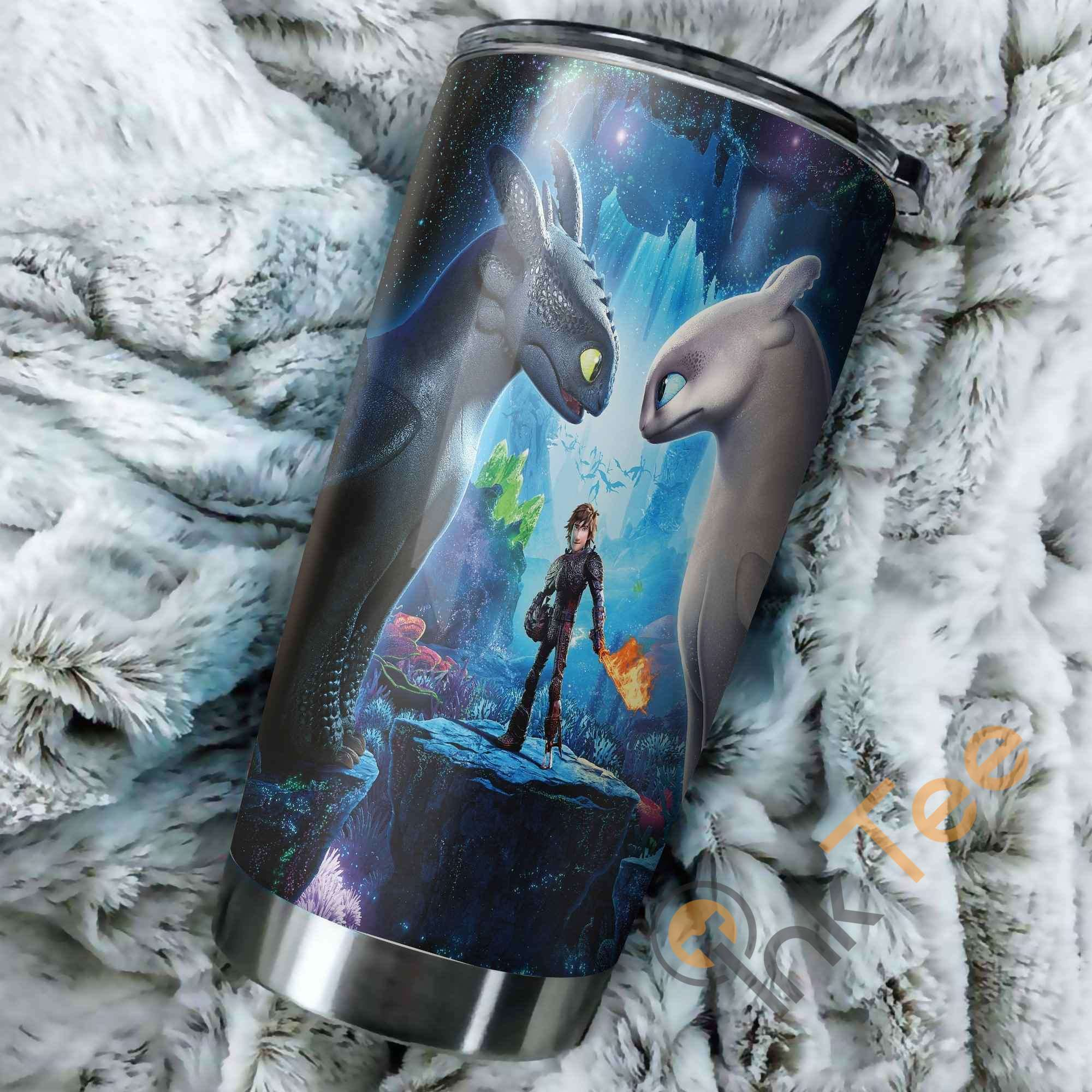 Toothless And Light Fury How To Train Your Dragon Art Perfect Gift Stainless Steel Tumbler