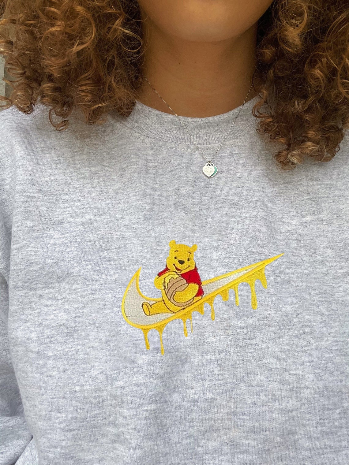 Winnie The Pooh Embroidered Swoosh Sweatshirt/t-shirt/hoodie Embroidery