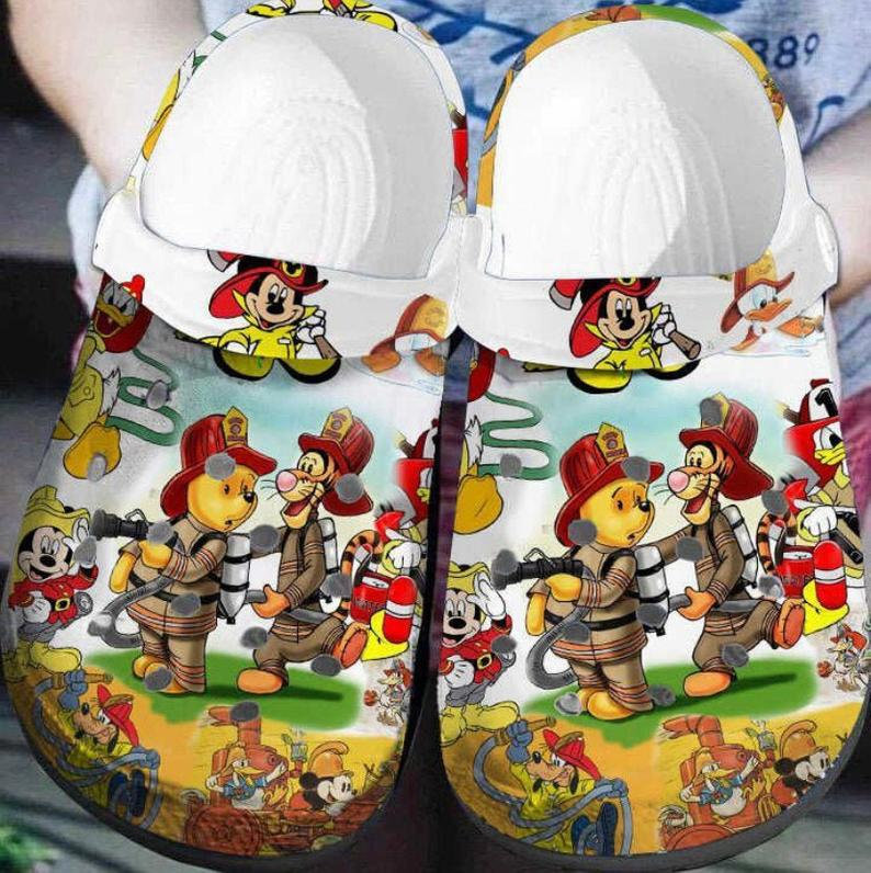 Winnie The Pooh Firefighter Crocs Clog Shoes