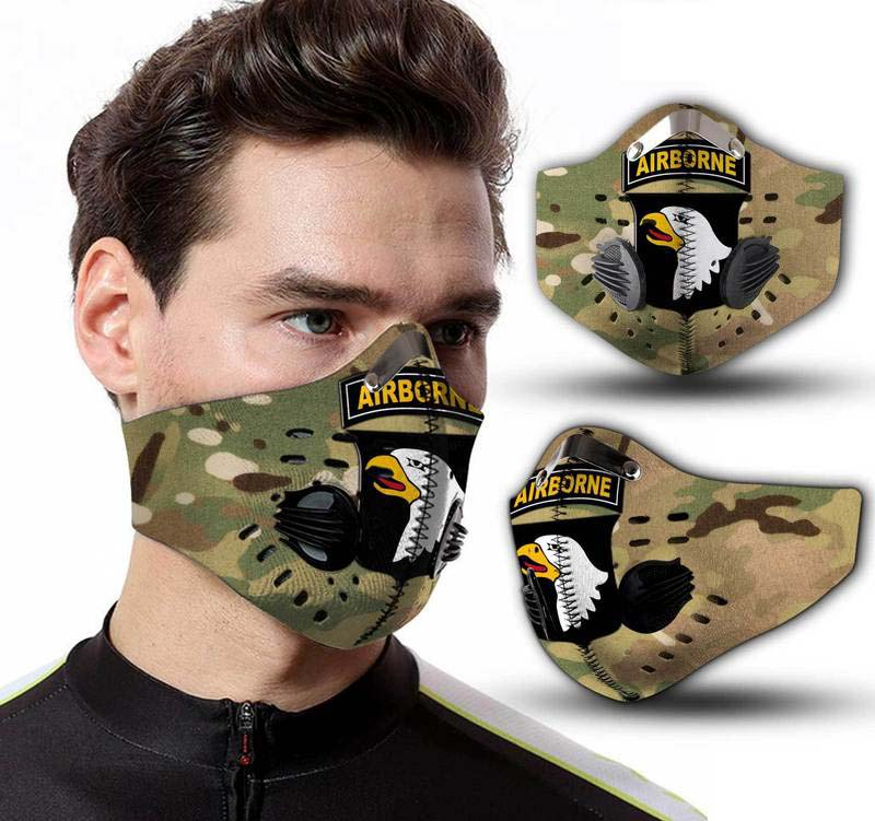 101st Airborne Division Camo Filter Activated Carbon Pm 2.5 Fm Face Mask