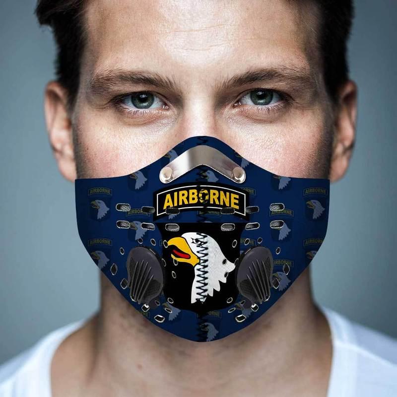101st Airborne Division Filter Activated Carbon Pm 2.5 Fm Face Mask
