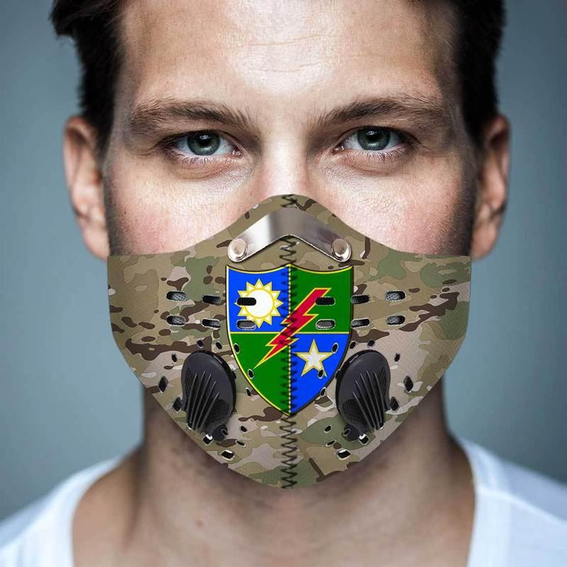 75th Ranger Regiment Camo Filter Activated Carbon Pm 2.5 Fm Face Mask