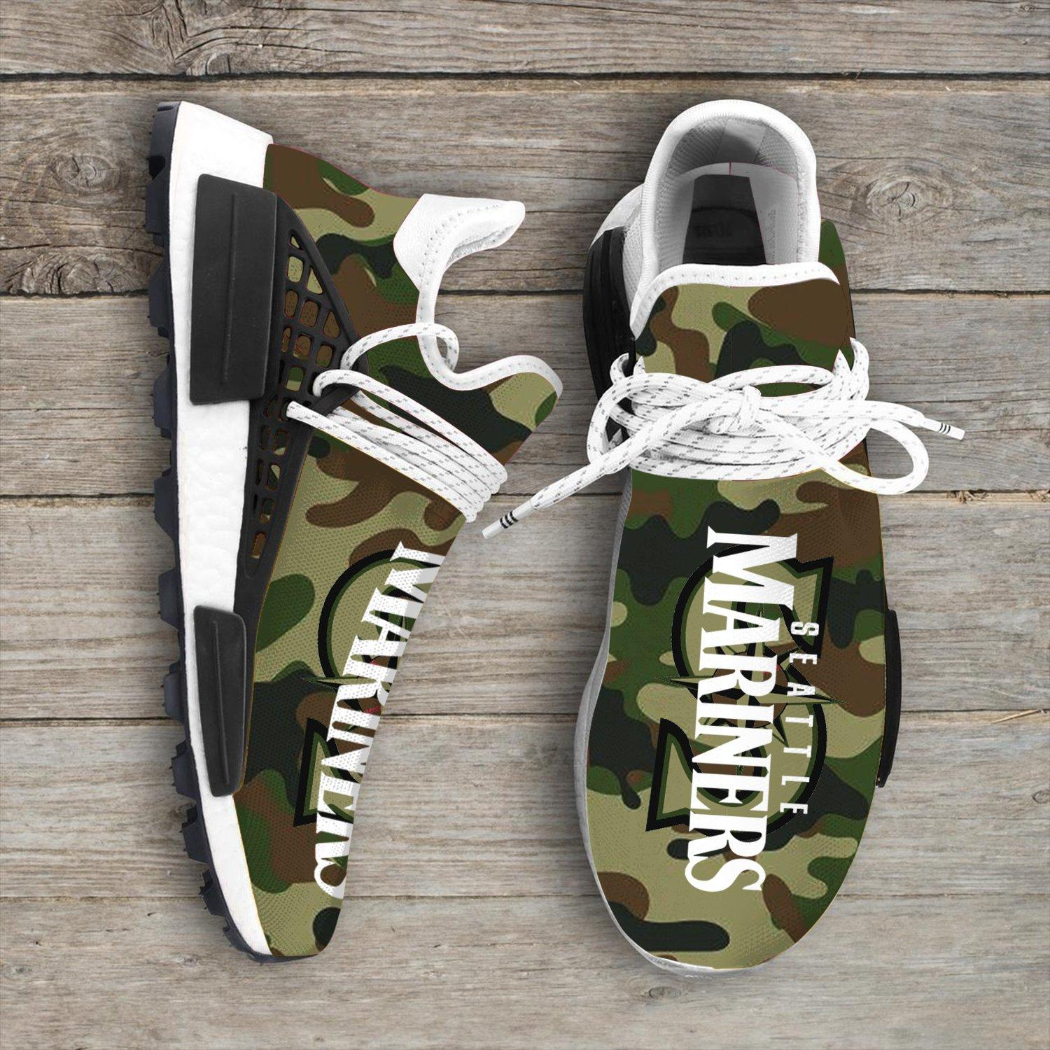 Camo Camouflage Seattle Mariners Mlb Sport Teams NMD Human Shoes
