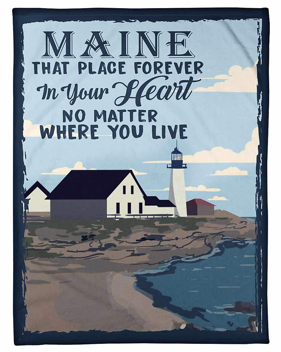 Maine That Place Forever In Your Heart Fleece Blanket
