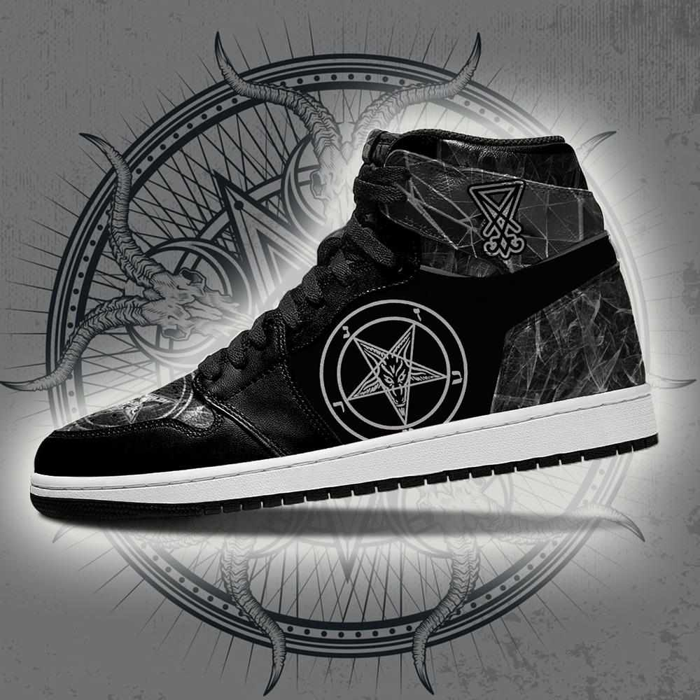 Satanic Black Custom Air Jordan Shoes