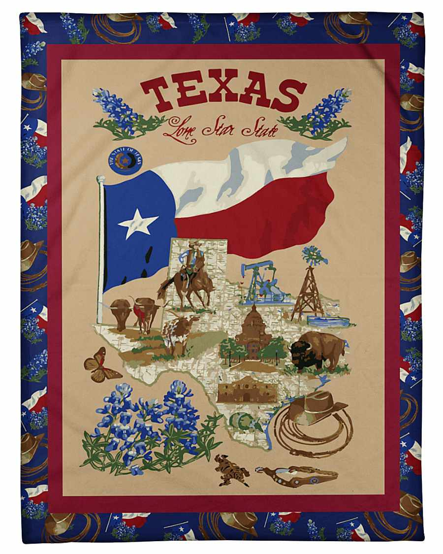 Texas Love Star State Fleece Blanket